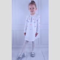 Trapezowa sukienka z pomponami - zdjęcie 1